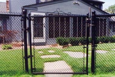 Black vinyl chain link fence system single swing gate