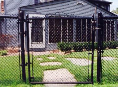 Black vinyl chain link fence system single swing gate