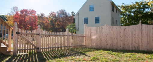 Betsy Ross (scalloped) Spaced Fence Shown with John Hancock (scalloped), with Boston Top Posts