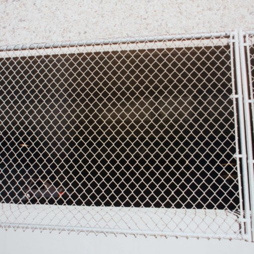 Chain link panels on parking garage
