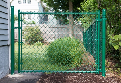 Green vinyl system chain link walk gate