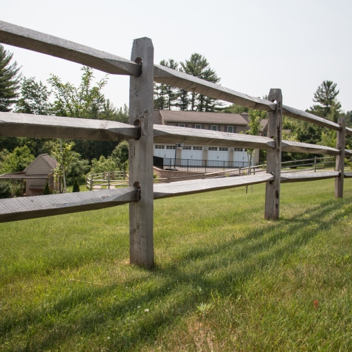 3-rail old fashioned split rail: locust posts with hardwood rails