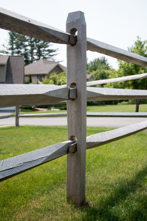 3-rail old fashioned split rail: locust posts with hardwood rails