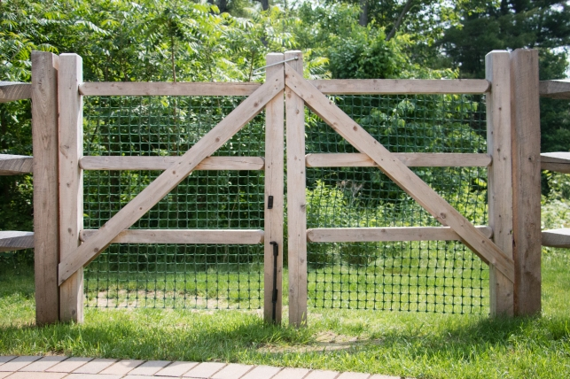 "Old fashioned split rail gates are constructed with 4""x4"" cedar frames and 3""x3"" cedar rails"