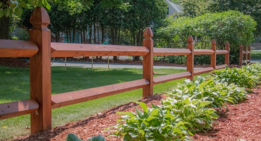 "Boston post & rail: 5""x5"" posts with 4""x4"" rails"