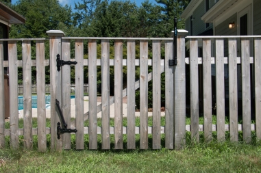 Betsy Ross (straight) gate with dado top cap and self-closing gate spring and Magna Latch to meet pool code