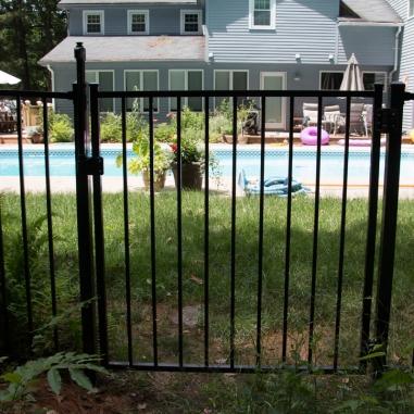 Aluminum gate with pool code hardware