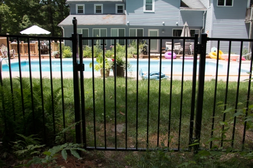 Aluminum gate with pool code hardware