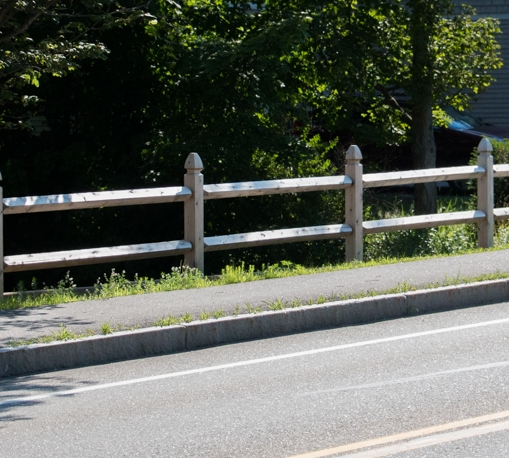 """Boston post & rail: 5""""x5"""" posts with 4""""x4"""" rails"""