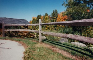 2-rail old fashioned split rail with vinyl coated welded wire mesh attached