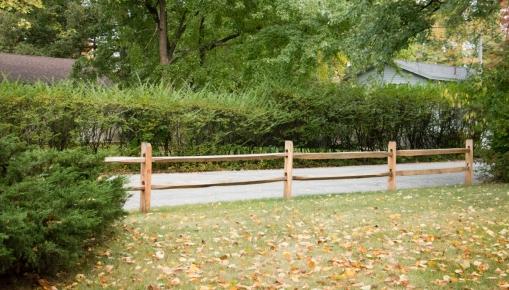 2-rail old fashioned split rail: locust posts with hardwood rails