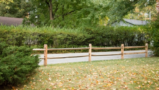 2-rail old fashioned split rail: locust posts with hardwood rails
